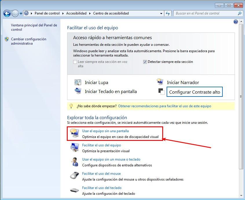 Centro Accesibilidad Windows