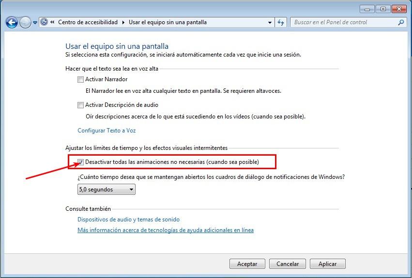 Desactivar animaciones Windows
