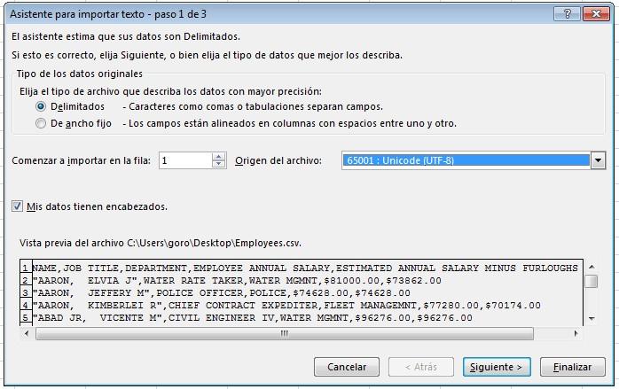 Asistente de importado de archivos CSV en Excel, paso 1