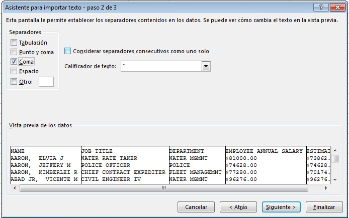 Asistente de importado de archivos CSV en Excel, paso 2