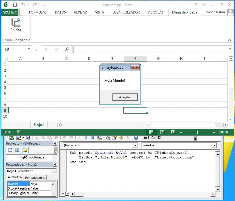 Menu personalizado Excel funcionando