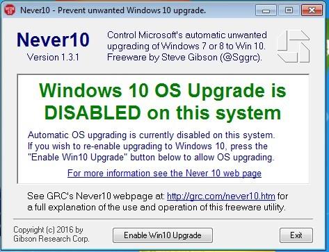 Never10 - Actualizacion a Windows 10 desactivada