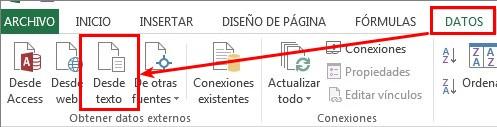 Obtener datos desde fuente de texto en Excel