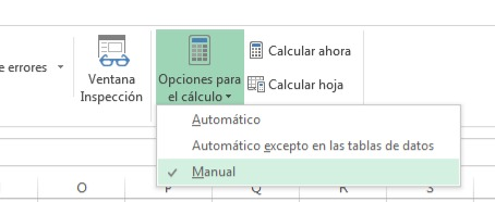 Opciones de calculo Excel