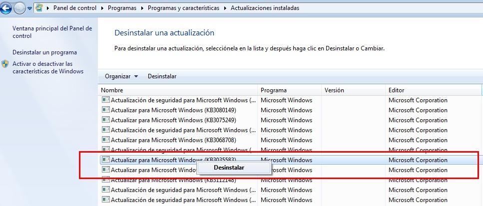 Windows7 a actualizacion Windows10 KB3035583