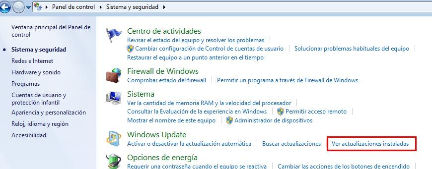 Windows7 actualizaciones instaladas