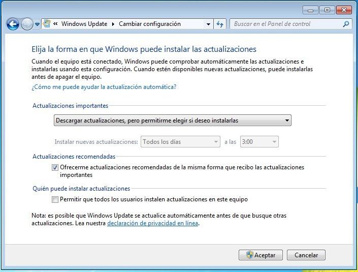 Windows 7 ajustes de actualizaciones automáticas