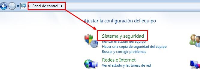 Windows 7 - panel de control - seguridad