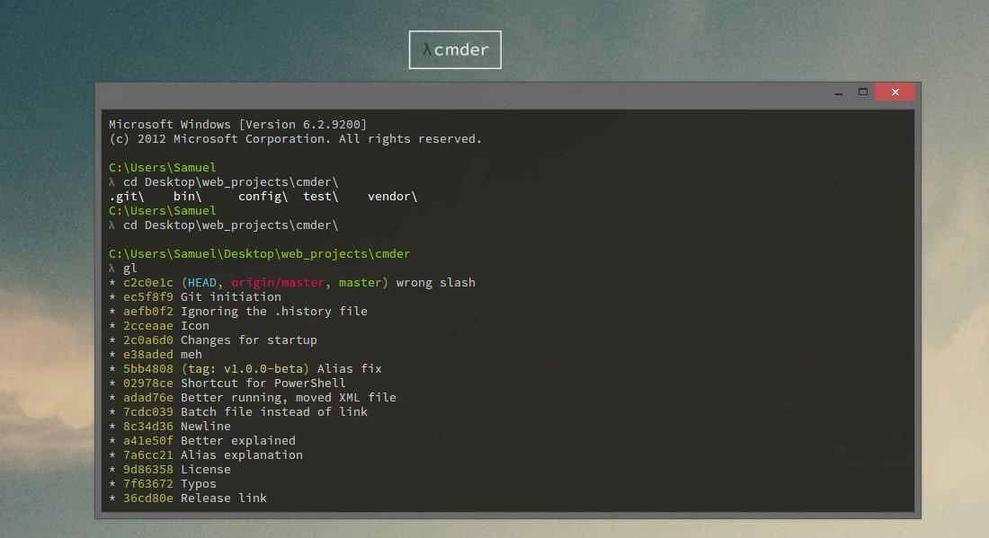 Una consola Linux en Windows: cmder