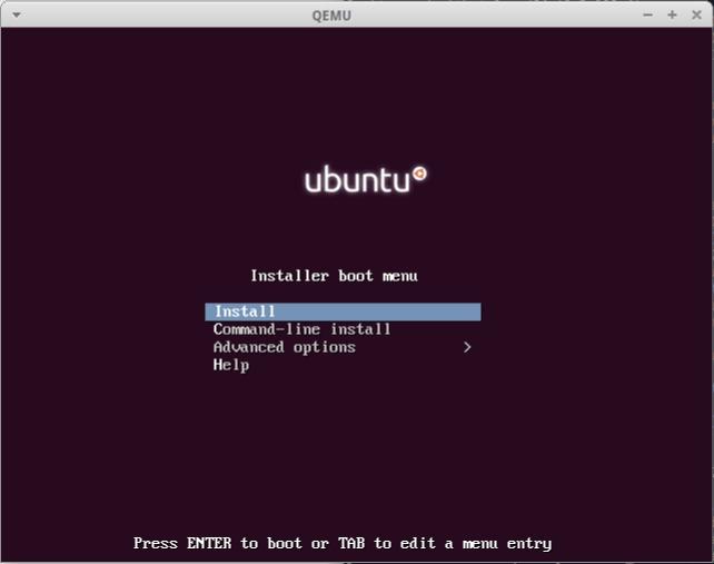 qemu boot ubuntu mini