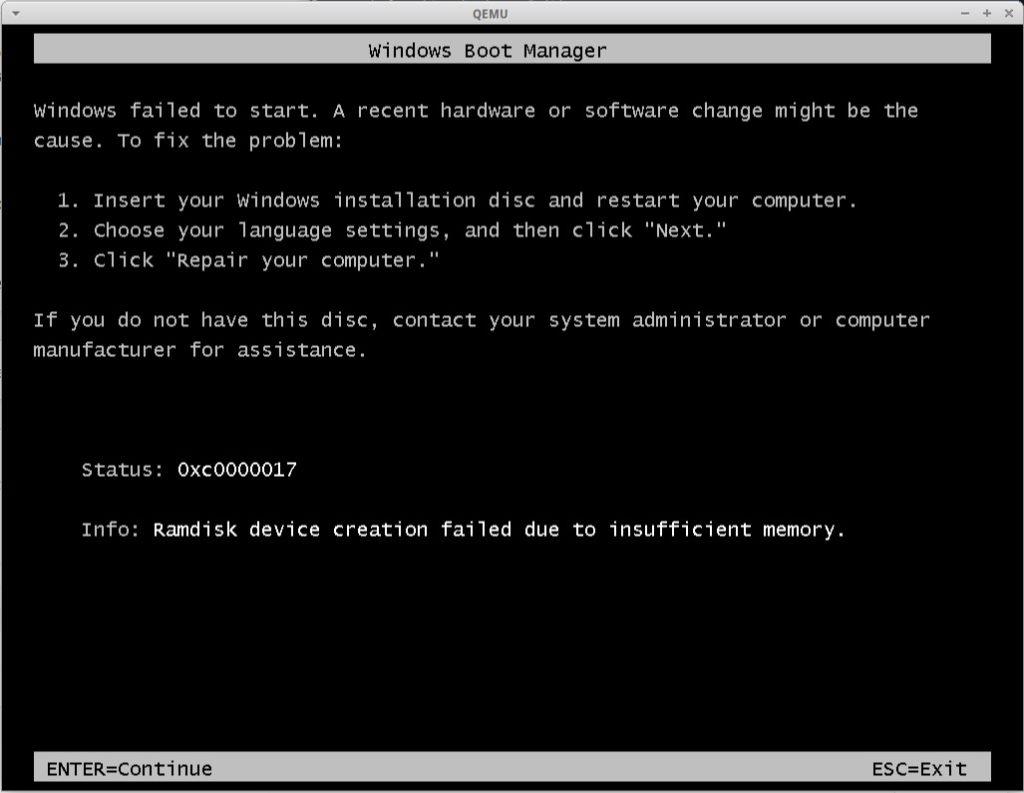 quemu boot windows error